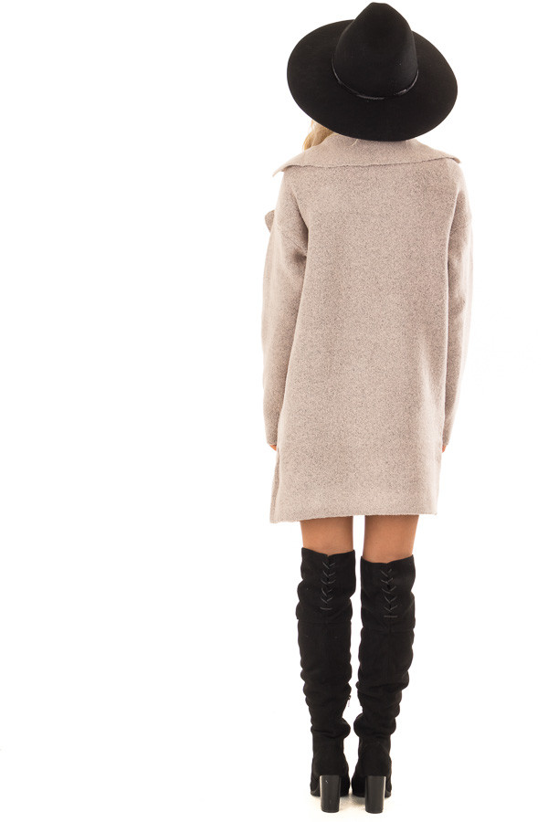 Blush Two Tone Coat with Front Pockets back full body