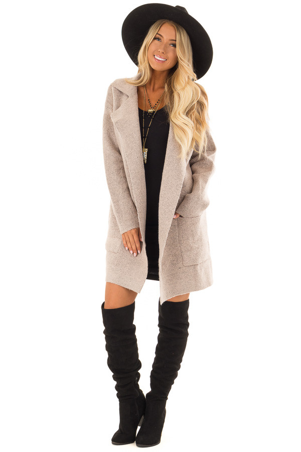 Blush Two Tone Coat with Front Pockets front full body