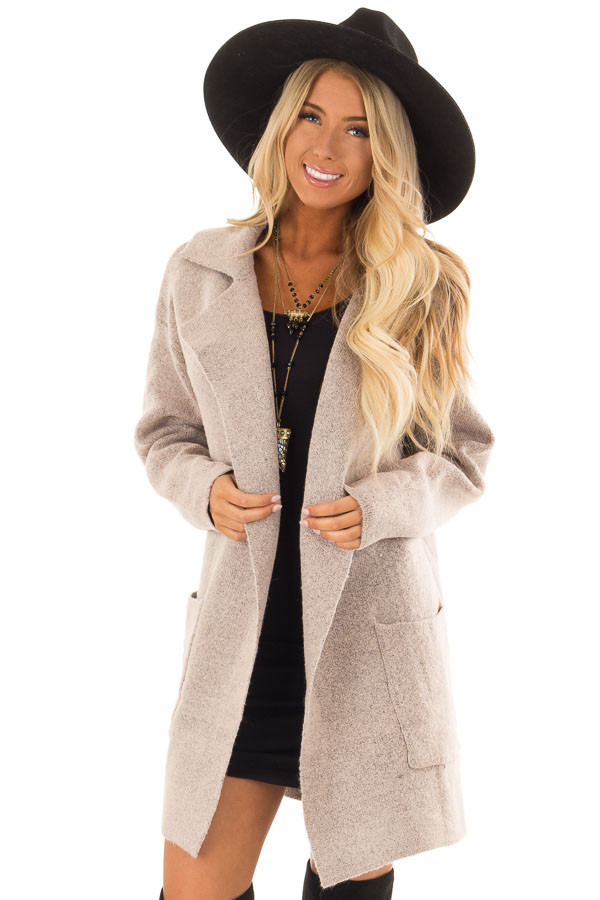 Blush Two Tone Coat with Front Pockets front close up