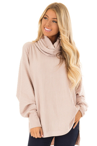 Dusty Rose Long Batwing Sleeve Turtleneck Sweater front close up