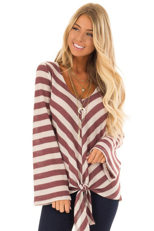 Mauve and Cream Striped Long Sleeve Top with Front Tie front close up