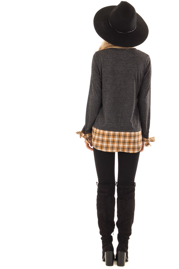 Charcoal Long Sleeve Top with Cider Plaid Contrast back full body