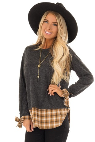Charcoal Long Sleeve Top with Cider Plaid Contrast front close up