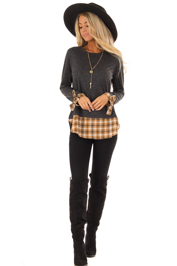 Charcoal Long Sleeve Top with Cider Plaid Contrast front full body