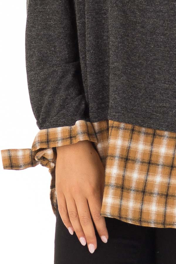 Charcoal Long Sleeve Top with Cider Plaid Contrast detail