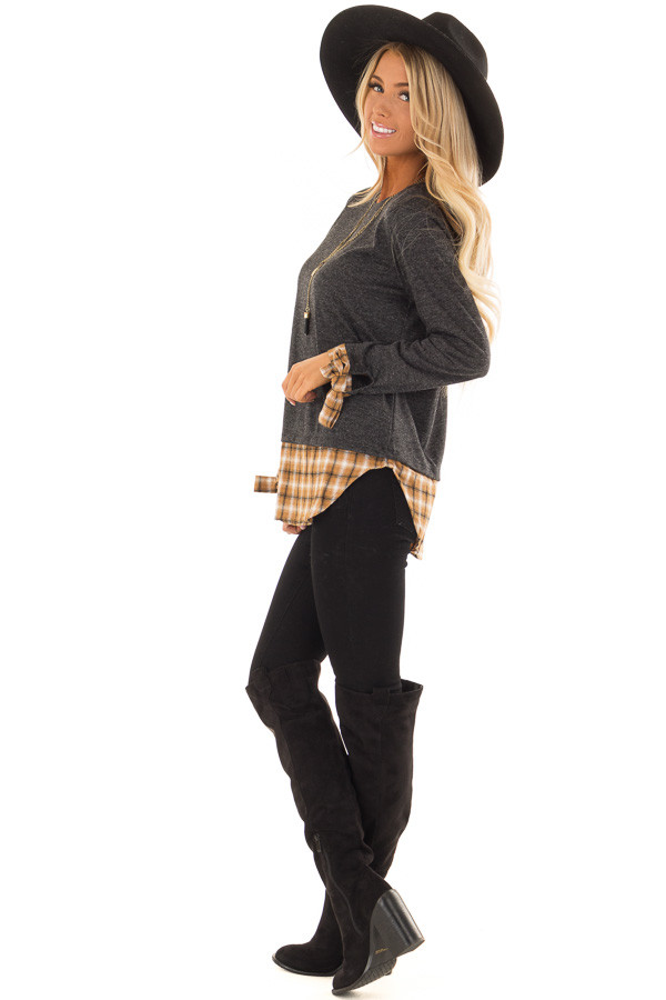 Charcoal Long Sleeve Top with Cider Plaid Contrast side full body