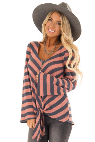 Rust and Slate Blue Striped Long Sleeve Top with Front Tie front close up