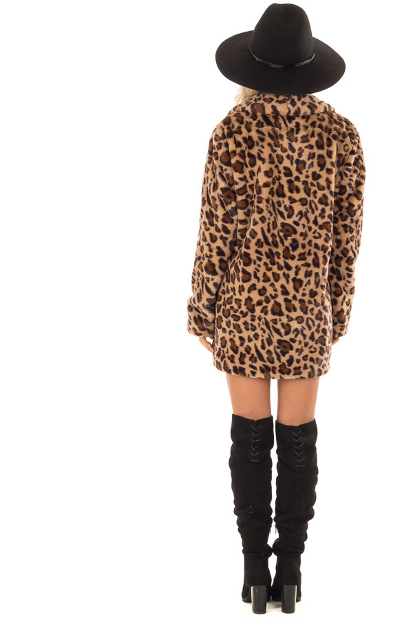 Leopard Print Long Sleeve Faux Fur Jacket with Pockets back full body