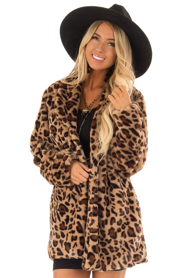 Leopard Print Long Sleeve Faux Fur Jacket with Pockets front close up