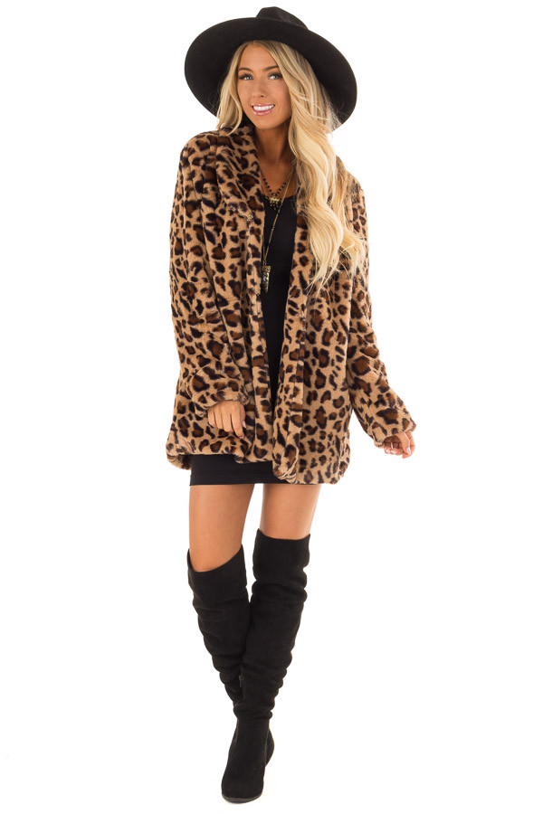 Leopard Print Long Sleeve Faux Fur Jacket with Pockets front full body