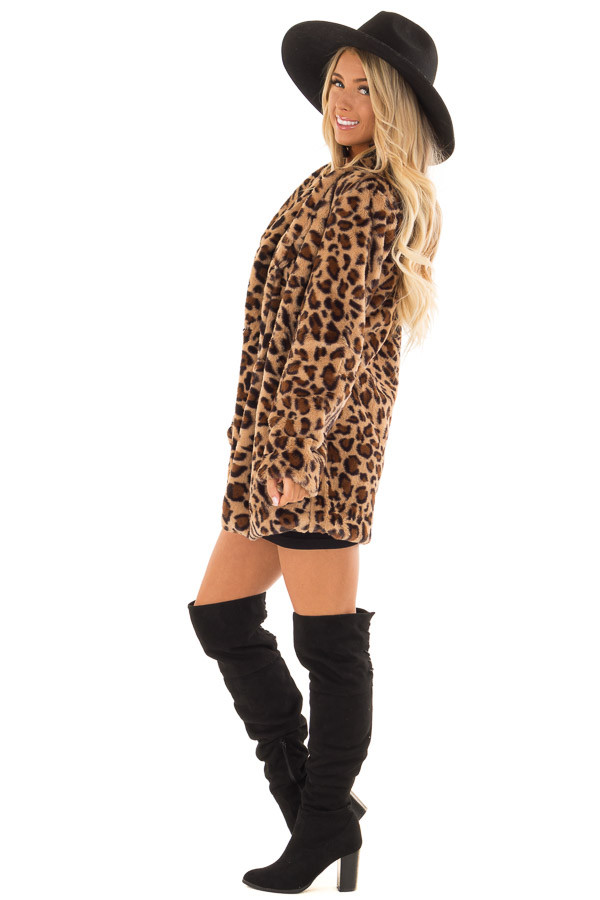 Leopard Print Long Sleeve Faux Fur Jacket with Pockets side full body