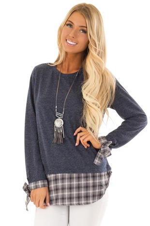 Navy Long Sleeve Top with Heather Grey Plaid Contrast front close up