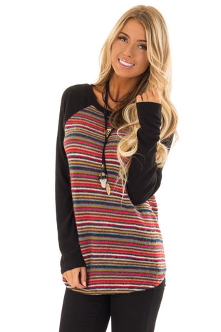 Multi Stripe Long Sleeve Top with Black Raglan Sleeves front close up
