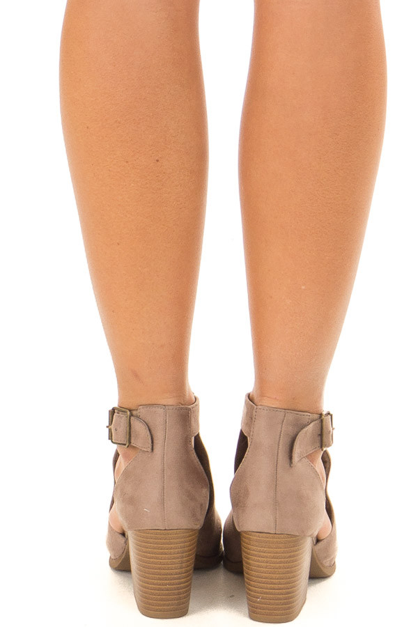 Coffee Faux Suede Heeled Ankle Boots with Side Cutout Detail back view