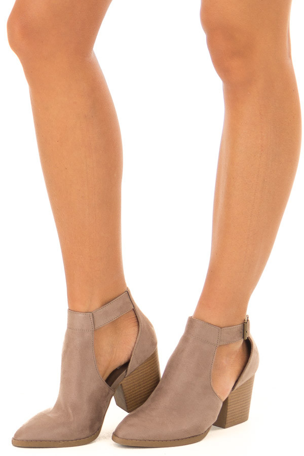 Coffee Faux Suede Heeled Ankle Boots with Side Cutout Detail front side view