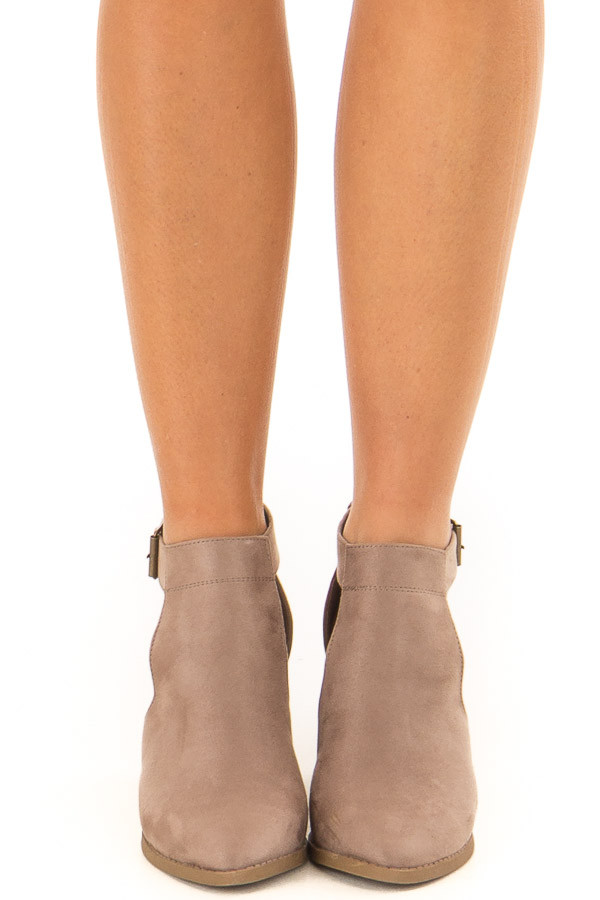 Coffee Faux Suede Heeled Ankle Boots with Side Cutout Detail front view