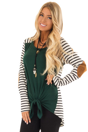 Hunter Green Top with Striped Contrast and Front Tie front close up