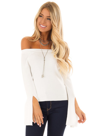 Off White Off the Shoulder Bell Sleeve Top front close up