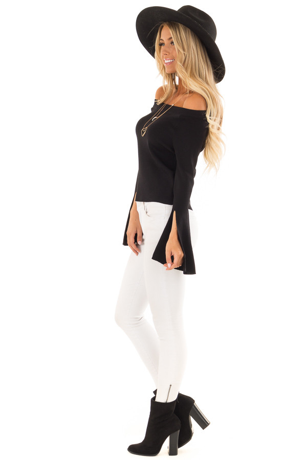 Black Off the Shoulder Bell Sleeve Top side full body