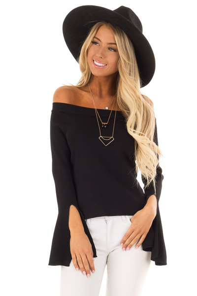 Black Off the Shoulder Bell Sleeve Top front close up