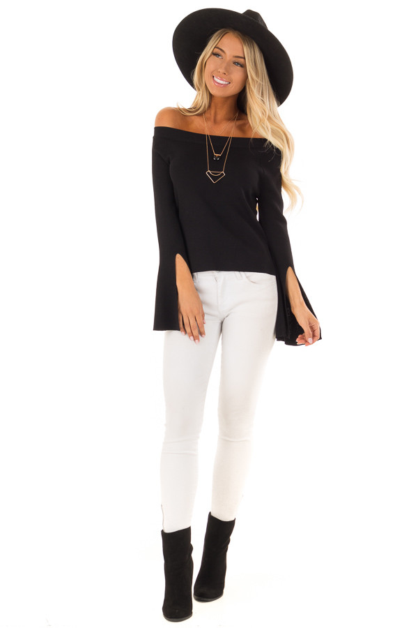 Black Off the Shoulder Bell Sleeve Top front full body