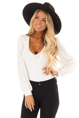 White Long Sleeve Bodysuit with Plunging Neckline front close up