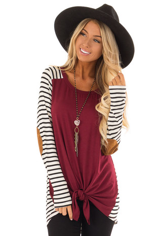 Burgundy Top with Striped Contrast and Front Tie front close up