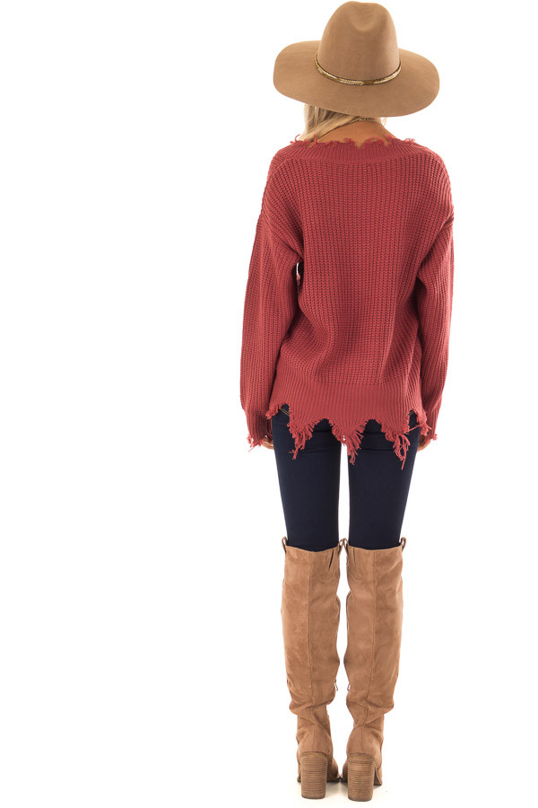Marsala Distressed Knit Long Sleeve V Neck Sweater back full body