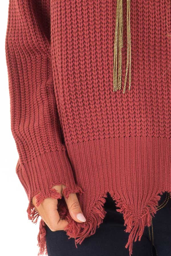 Marsala Distressed Knit Long Sleeve V Neck Sweater detail