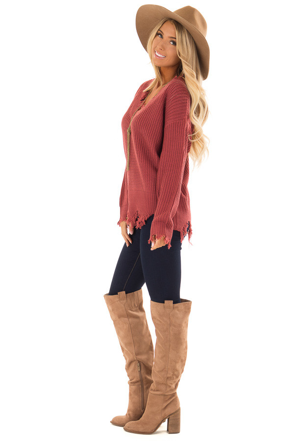 Marsala Distressed Knit Long Sleeve V Neck Sweater side full body
