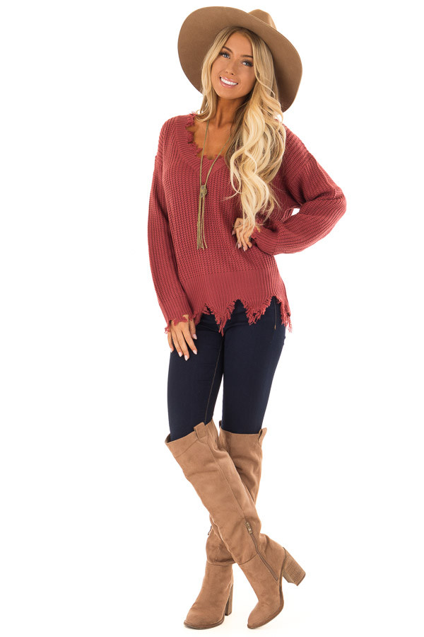 Marsala Distressed Knit Long Sleeve V Neck Sweater front full body