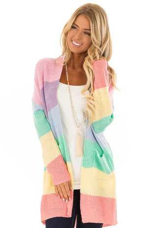 Rainbow Color Block Open Front Cardigan with Pockets front close up