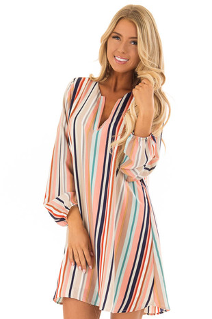 Blush Multi Color Striped Woven Dress with Bishop Sleeves front close up