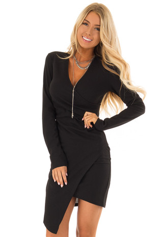Obsidian Crossover Fitted Long Sleeve Dress front close up