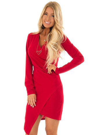Ruby Red Crossover Fitted Long Sleeve Dress front close up