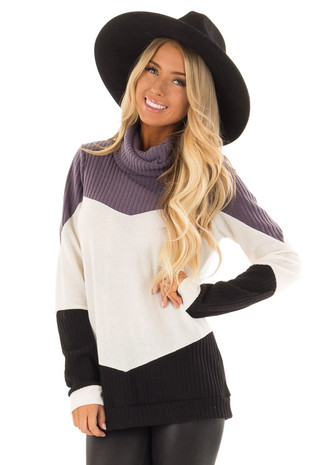 Plum Color Block Long Sleeve Top with Cowl Neck front close up