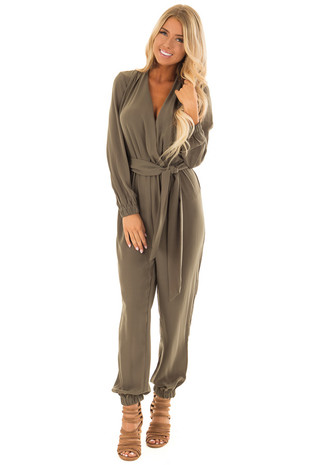 Olive Long Sleeve Jumpsuit with Waist Tie front full body