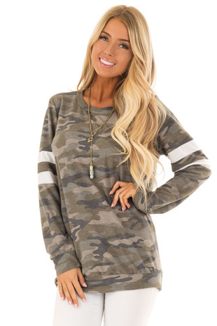 Army Green Camo Top with White Stripe Detail on Sleeves front close up