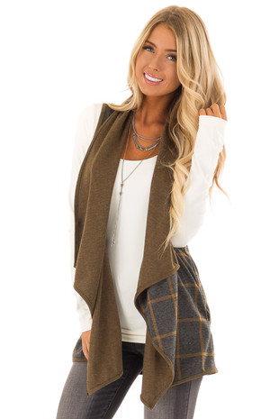 Charcoal and Mustard Long Sleeveless Plaid Vest front close up