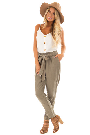 Olive Pants With Side Pockets and Tie front full body