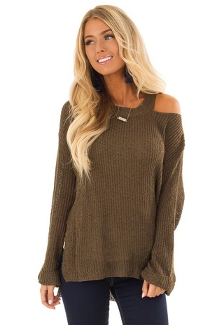 Olive Knit Long Sleeve Sweater with Shoulder Cutout front close up