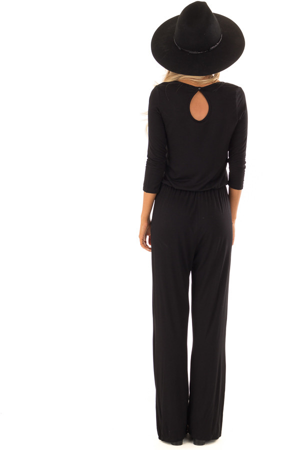 Black 3/4 Sleeve Jumpsuit with Waist Tie and Keyhole Detail back full body