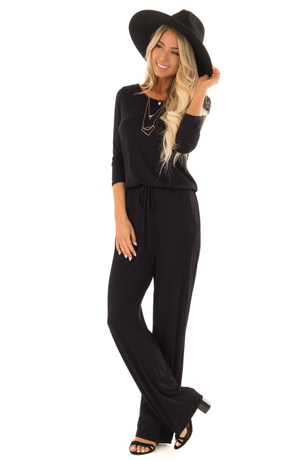 Black 3/4 Sleeve Jumpsuit with Waist Tie and Keyhole Detail front full body