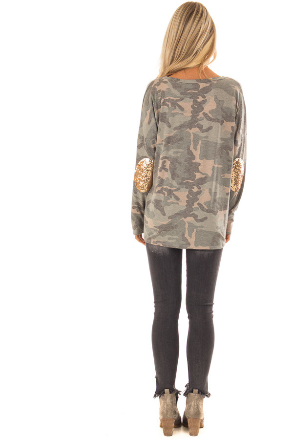 Camo Long Sleeve Top with Gold Sequin Elbow Patches back full body