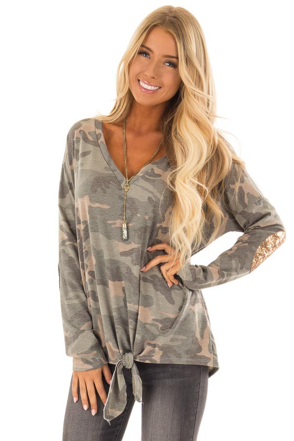Camo Long Sleeve Top with Gold Sequin Elbow Patches front close up