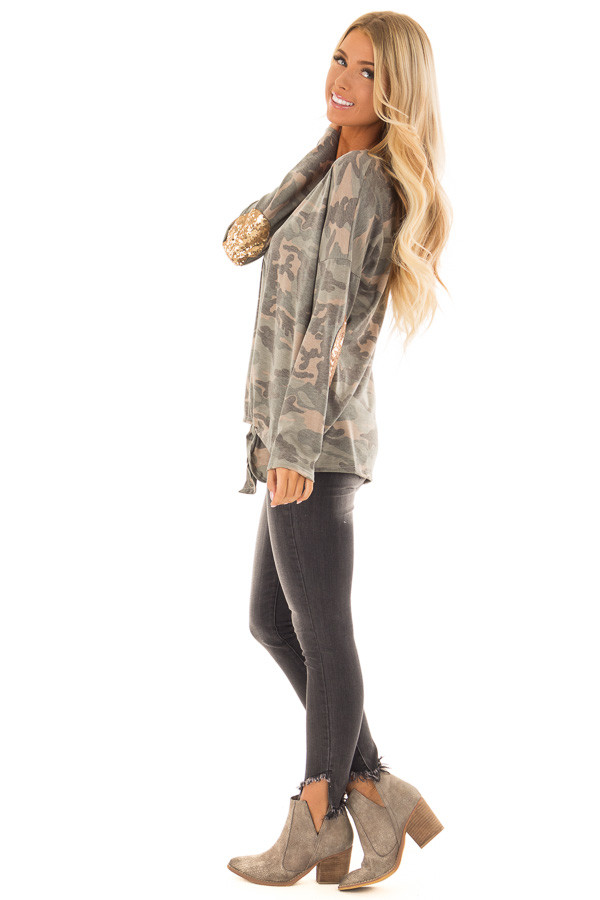 Camo Long Sleeve Top with Gold Sequin Elbow Patches side full body