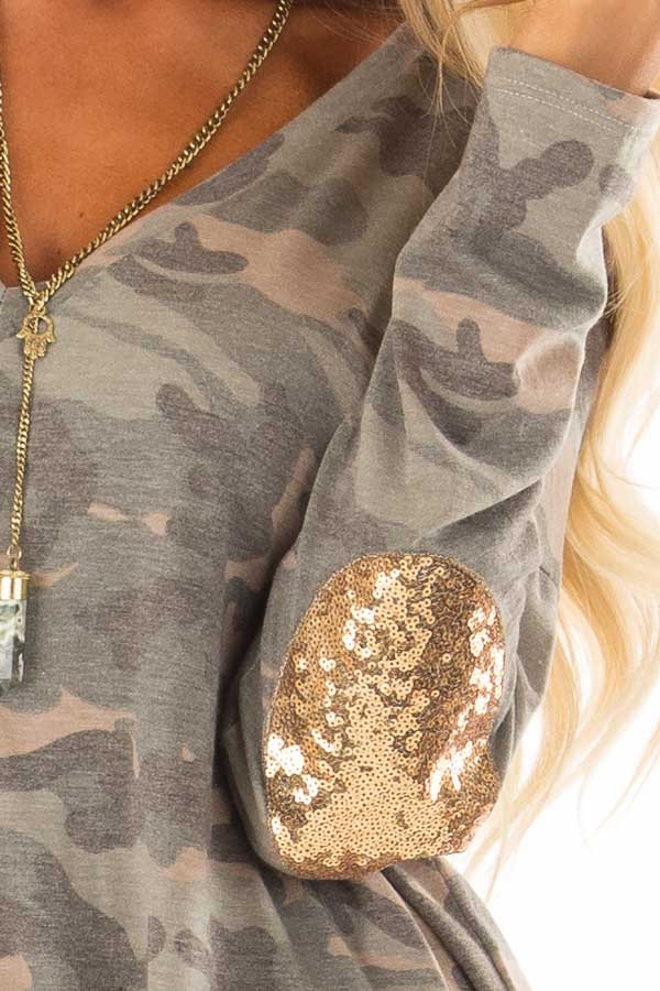 Camo Long Sleeve Top with Gold Sequin Elbow Patches detail