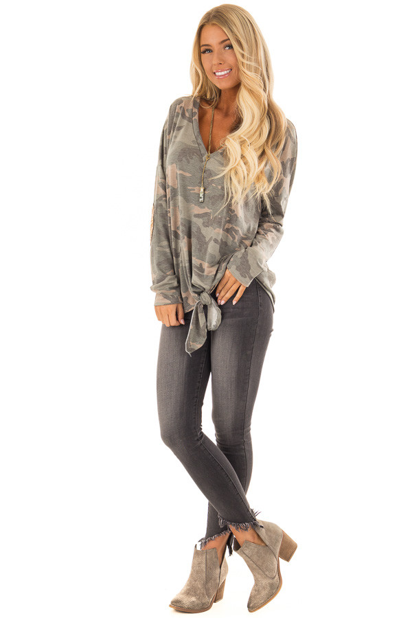 Camo Long Sleeve Top with Gold Sequin Elbow Patches front full body