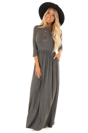 Flint Grey Mock Neck Maxi Dress with 3/4 Sleeves front full body