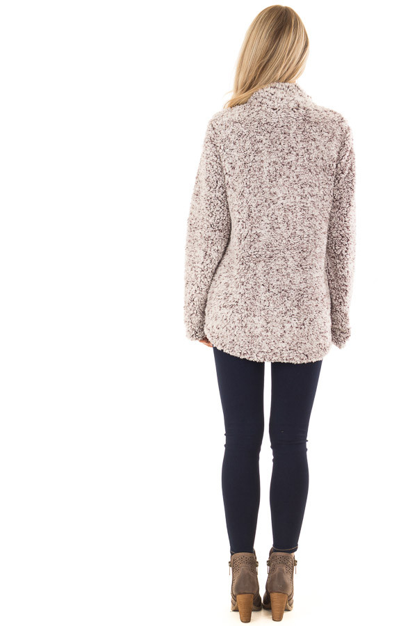 Mocha Two Tone Sherpa Pullover with Pockets back full body